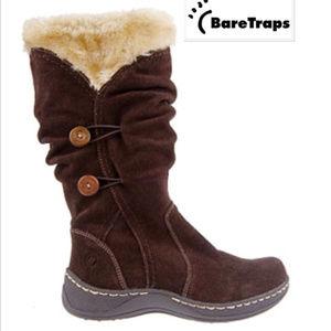 BARETRAPS ESHA Suede & Fur Water Resistant Boots
